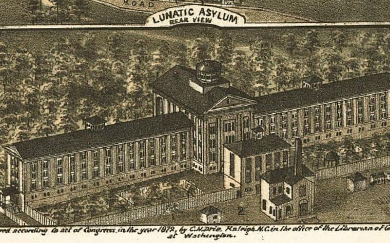 """Dorothea Dix Hospital was known for almost a century as a lunatic asylum, as seen here in the inset to the 1872 """"Bird's Eye View"""" map of Raleigh."""