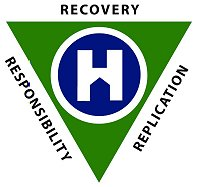 Logo shows white H in a blue circle, superimposed over a green triangle, with the words Recovery, Responsibility, Replication around the three sides fo the triangle
