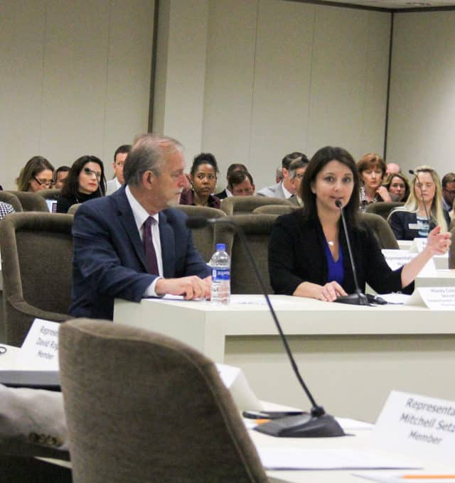 Sec. Mandy Cohen and Deputy Sec. Dave Richard are sitting at a white table in an update on Medicaid transformation to the House Health committee