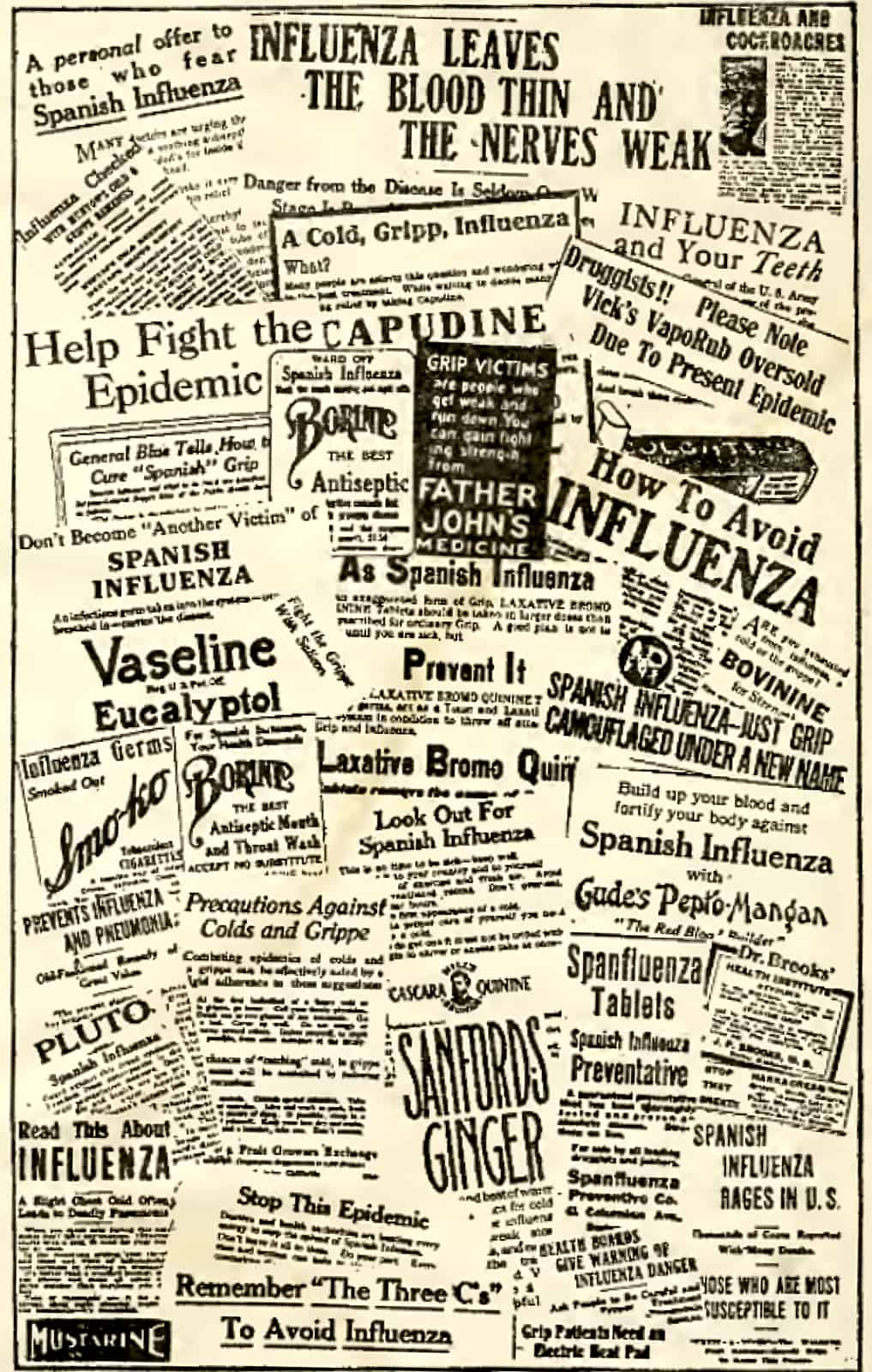 shows newspaper headlines that talk about influenza
