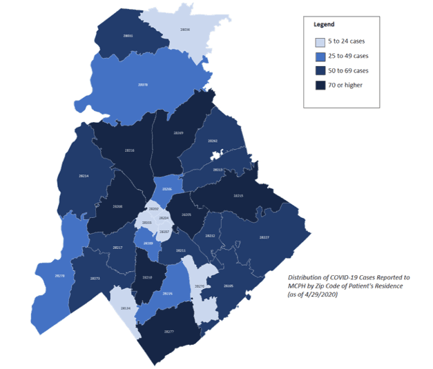 shows distribution of COVID-19 cases by zip code in Mecklenburg